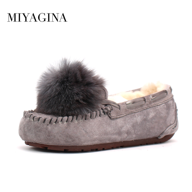 Womens Winter Gommino Loafers Flats  Thicken Faux Fur Snow Shoes Warrm Flats