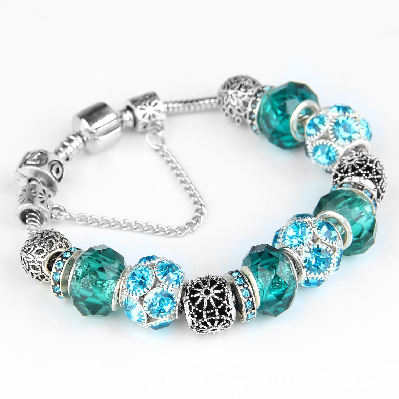 (With Box) SPC New Crystal Mickey Minnie Mouse Brand Charms Bracelet Glass Beads Bracelets Women Fashion Jewelry Cute Gift