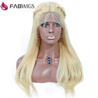 Fabwigs 180% Плотность 13x4 613 Синтетические волосы на кружеве натуральные волосы парики предварительно сорвал блондинка Синтетические волосы на