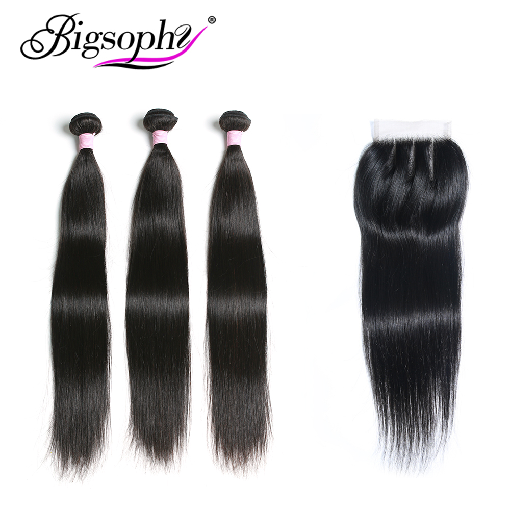Brazilian Hair Straight Bundles With Closure 100% Human Hair Bundle With frontal 3 Bundles With Lace Closure Remy Hair BIGSOPHY web page