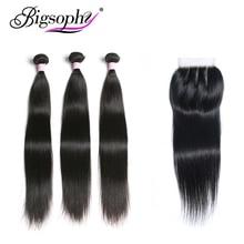 ブラジル毛織りバンドル閉鎖人間の毛束ストレート 3 バンドルで 4 × 4 レース閉鎖レミーの毛 8 30 インチ BIGSOPHY
