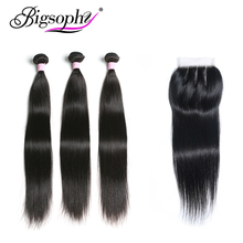 Brazilian Hair Straight Bundles With Closure 100% Human Bundle frontal 3 Lace Remy BIGSOPHY