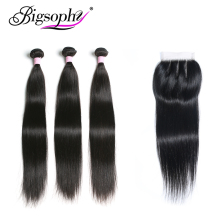 Brazilian Hair Weave Bundles With Closure Human Hair Bundle Straight 3 Bundle With 4x4 Lace Closure Remy Hair 8-30 inch BIGSOPHY