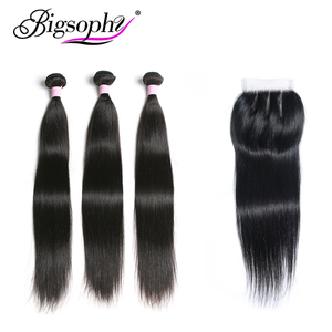Image 1 - Brazilian Hair Weave Bundles With Closure Human Hair Bundle Straight 3 Bundle With 4x4 Lace Closure Remy Hair 8 30 inch BIGSOPHY