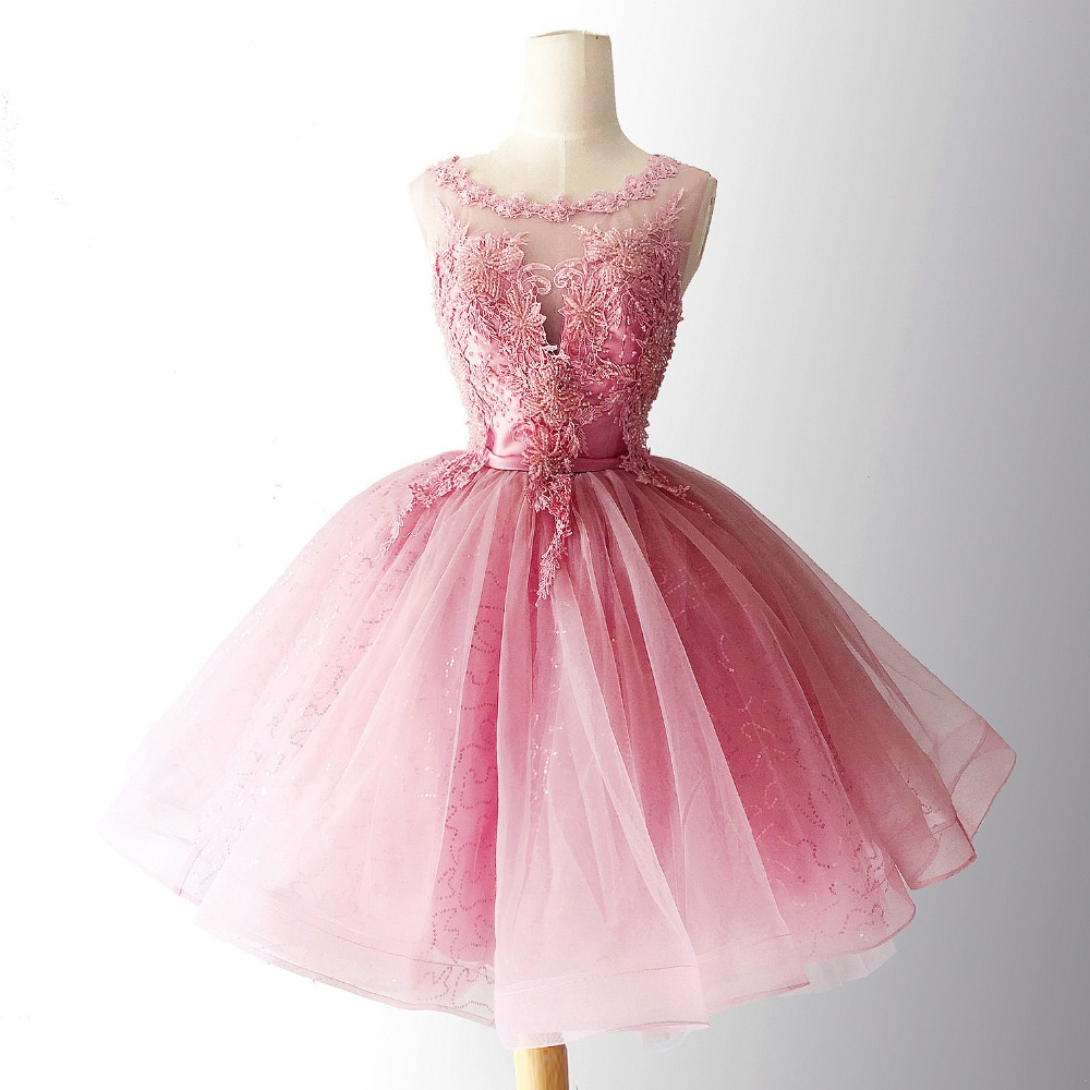 New Pink Homecoming Dresses 2018 Plus Size Tulle Short Prom Dress Appliques Beaded Party Cocktail Wedding