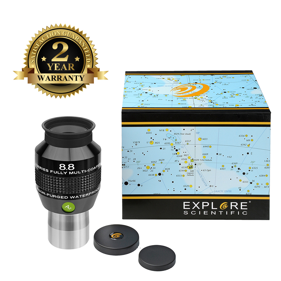 New Explore Scientific Eyepiece 82 Degree Extreme Wide Field Waterproof 1.25inch 8.8mm Argon-Purged EMD Coatings