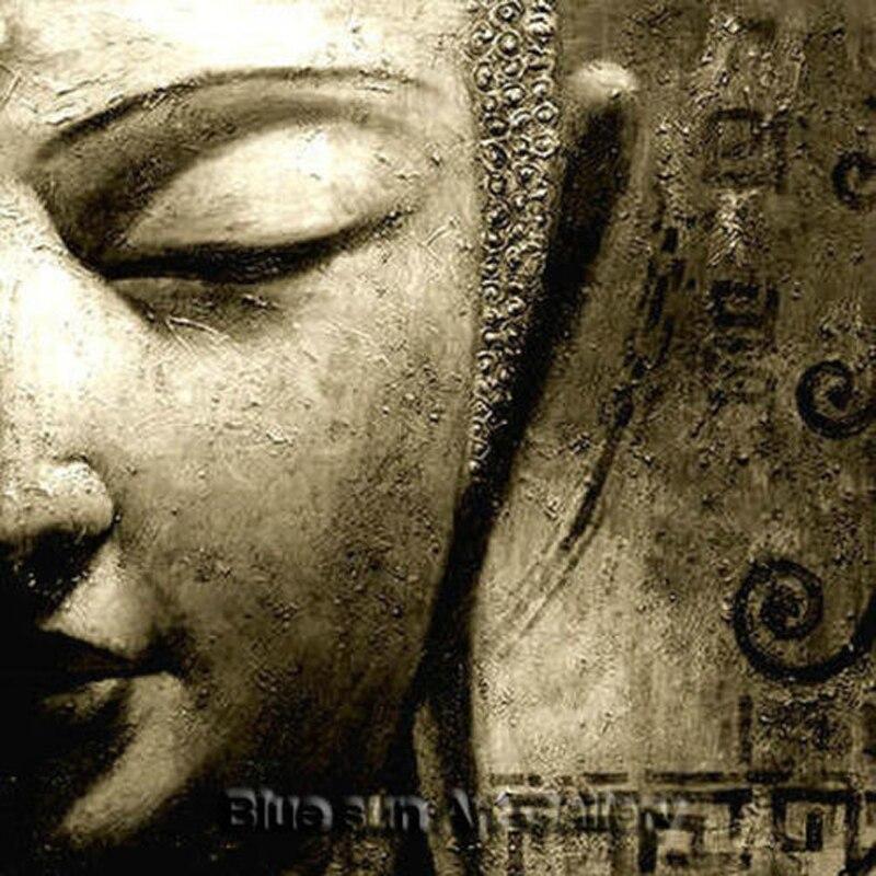 Peinture à l'huile de bouddha faite main moderne signée sur toile art abstrait sans cadre