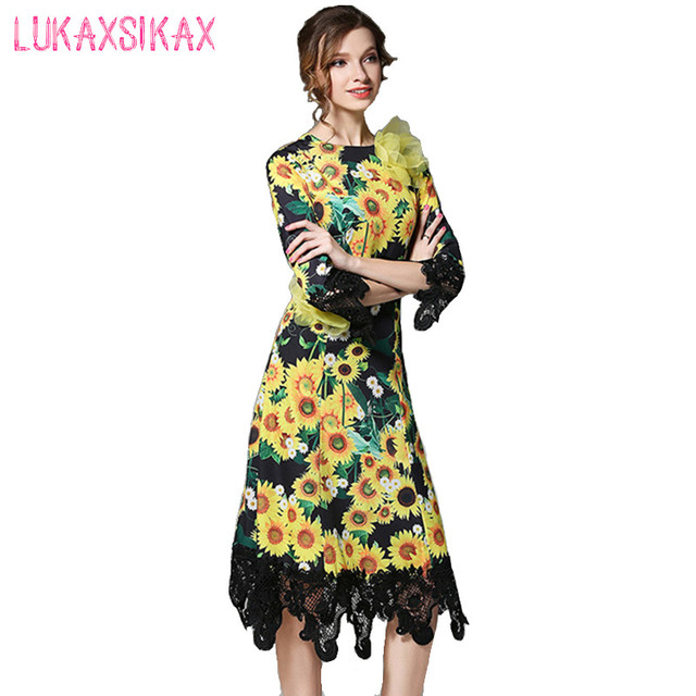 21b47033409 2017 New Women Spring Summer Dress High Quality Fashion 3D Flowers And  Sunflower Print Elegnt Lace Patchwork Runway Dresses