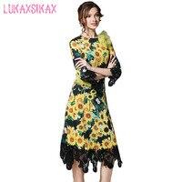 2017 yeni kadın bahar yaz dress yüksek kalite moda 3d çiçekler ve sunflower baskı elegnt dantel patchwork pist elbiseler
