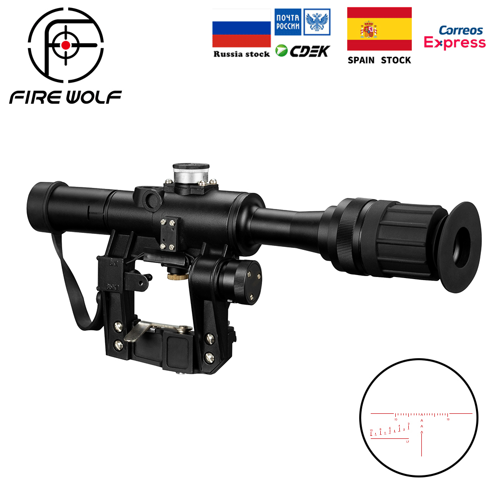 Tactical Hunting Riflescopes  SVD Dragunov Optics 4x24 Wide Angle Red Illuminated Rifle Scope Airsoft Red Dot Sight Sniper GearTactical Hunting Riflescopes  SVD Dragunov Optics 4x24 Wide Angle Red Illuminated Rifle Scope Airsoft Red Dot Sight Sniper Gear