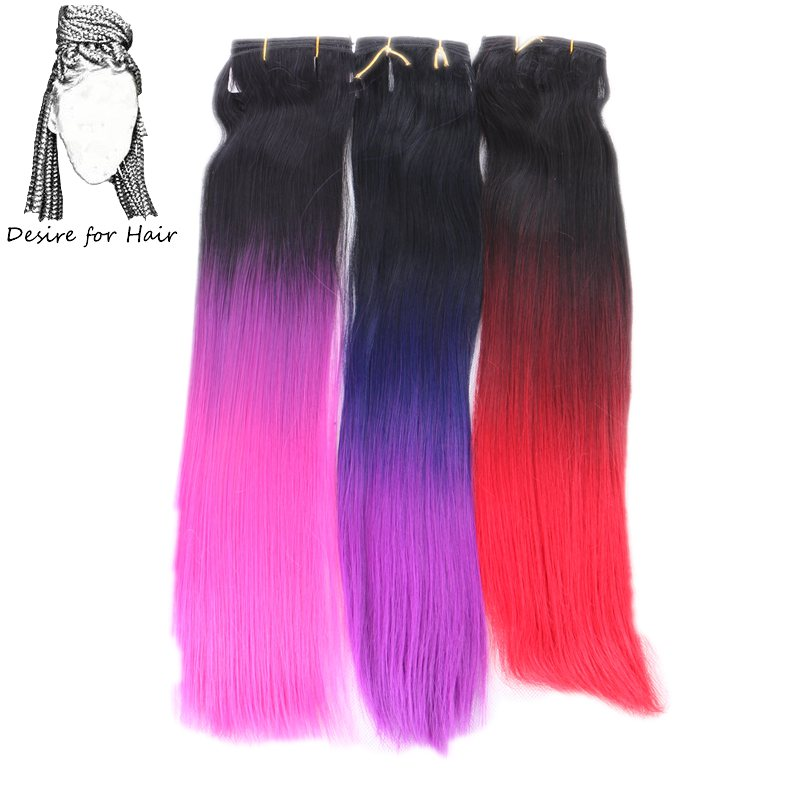 Weave Bundles Synthetic-Hair Heat-Resistant Purple Hair-20inch Desire Straight Ombre-Color