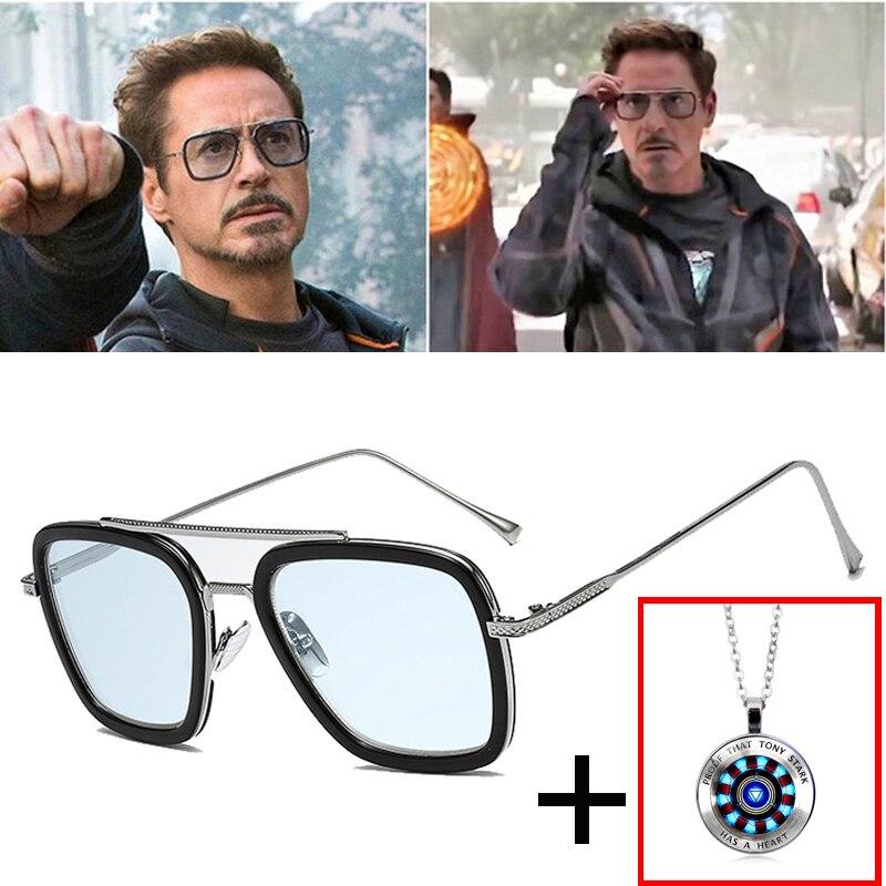 2019 Hot mode luxe Avengers Tony Stark vol Style lunettes de soleil hommes carré marque Design lunettes de soleil Oculos fer homme 4 mâle