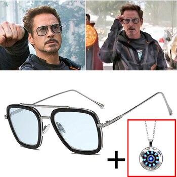 2020 Hot Fashion Luxury Avengers Tony Stark Flight Style Sunglasses Men Square Brand Design Sun Glasses Oculos iron Man 4 male