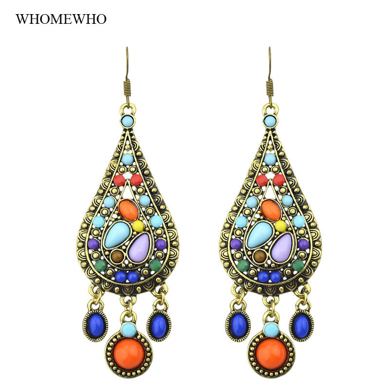 Vintage Antique Gold Indian Style Jhumka Teardrop Geometic Stones Drop Earring  Gypsy Bohemian Jewelry Women Accessories