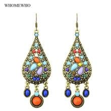 Vintage Antique Gold Indian Style Jhumka Teardrop Geometic Stones Drop Earring  Gypsy Bohemian Jewelry Women Accessories