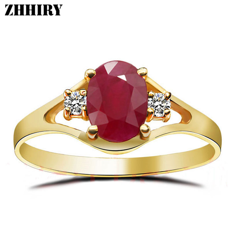 ZHHIRY Women 18K Yellow Gold Ring Natural Ruby Gemstone Real Fine Jewelry Engagement Wedding Lettering