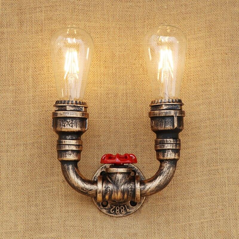 American vintage Průmyslová nástěnná lampa 2 světla železo rez Vodní dýmka retro nástěnná světla pro obývací pokoj ložnice bar restaurace