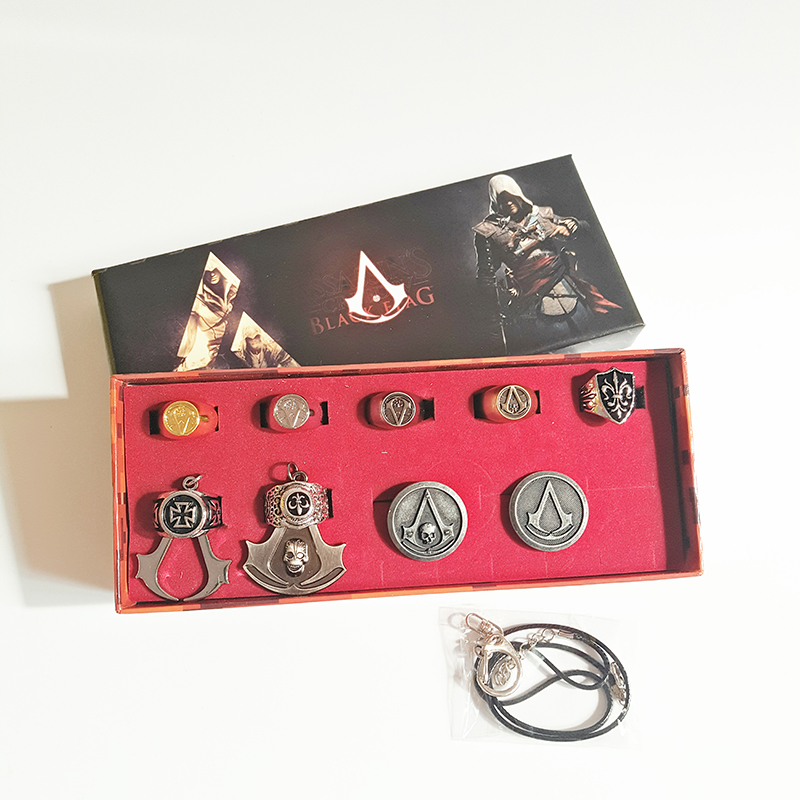 12 pcs/box Assassins ghost BROOCH BADGE Assassins Creed alloy Necklace Rings Pendant Key ...