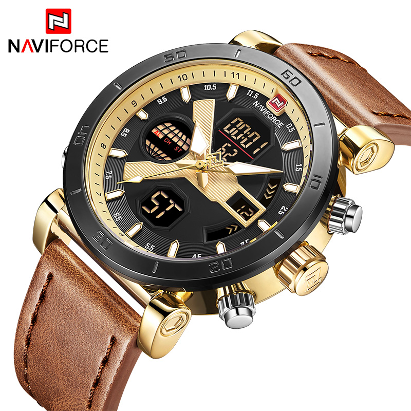 NAVIFORCE New Arrival Men Watches Military Waterproof Leather Sport Watch Men Multi Function Top Brand Clock Relogio Masculino