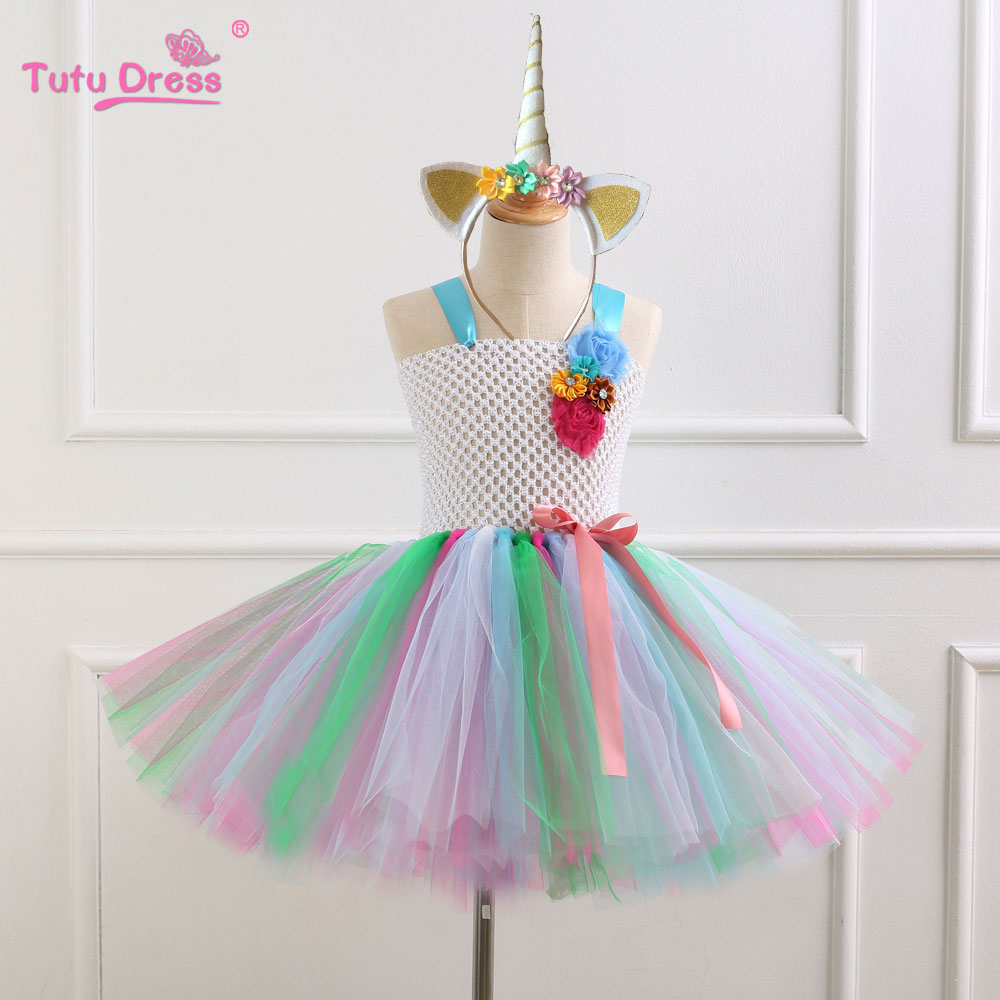 High Quality Girl Dress Baby Birthday Party Dress Fancy Cosplay Costume Kids Girls Colorful Tulle Cartoon Tutu Dress