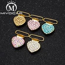 MIYOCAR special design bling heart shape safe gold pacifier clip  holder good quality handmade material SP020