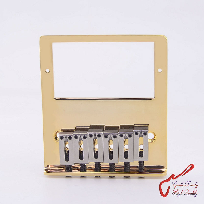 1 Set GuitarFamily Super Quantity Humbucker Pickup  Fixed Electric Guitar Bridge  Stainless Saddle  Brass Plate  Gold  ( #1241 ) kmise electric guitar pickups humbucker double coil pickup bridge neck set guitar parts accessories black with chrome gold frame