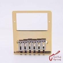 1 Set GuitarFamily Super Quantity Humbucker Pickup  Fixed Electric Guitar Bridge  Stainless Saddle  Brass Plate  Gold  ( #1241 )