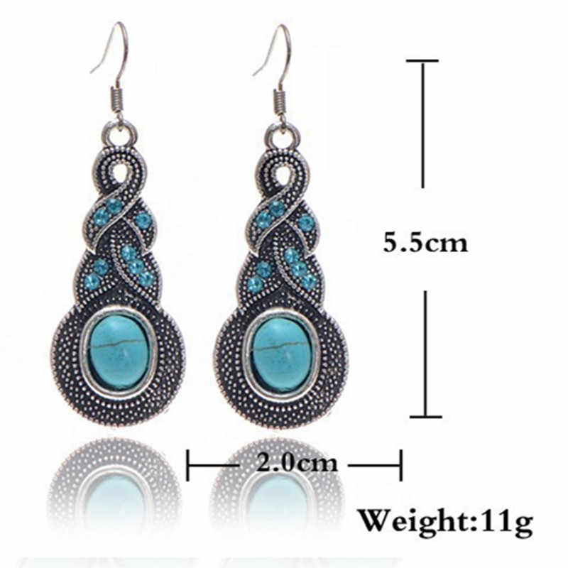 Bohemia Fashion Natural Stone Jewelry Necklace Earrings Set  for Women wedding