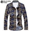 Желательно Время 2017 Мода Мужская Цветочные Рубашки С Длинным Рукавом Плюс Размер M-7XL Весна Голубой Рубашки Повседневные Мужчины DT437
