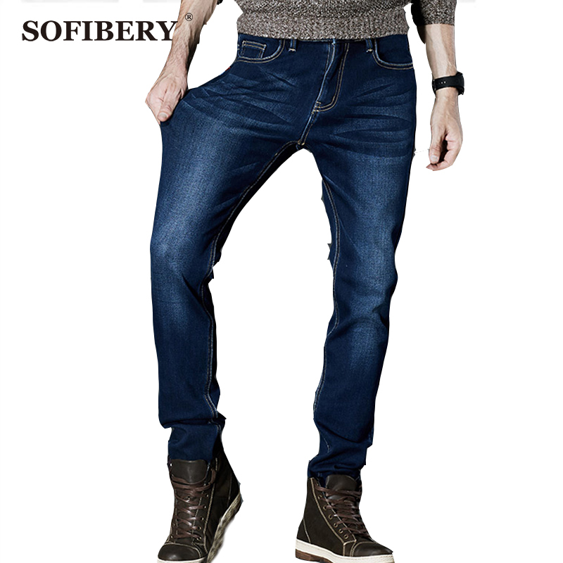 ФОТО SOFIBERY Jeans Mens Winter Stretch Thicken Jeans with Warm Fleece High Quality Denim Jean Pants Trousers Size 28-35-42 M941-8915