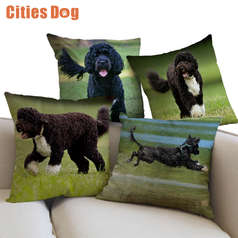 Decorative Cushion Animal Dog Pillows case cojines linen Portuguese Water Dog 45x45cm throw Car covers sofa Pillow Cushions cove