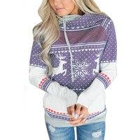 Snowflake Deer Print Polka Dot Women Hoodies Sweatshirt With Pocket Lace Up Hooded Fleece Shirt Top