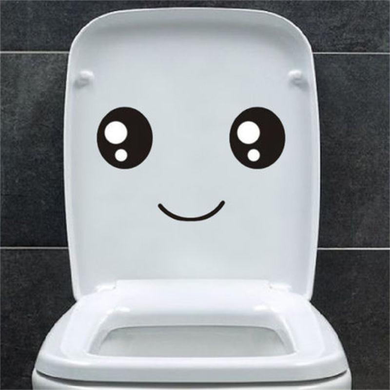 Smile Face Toilet seat stickers diy furniture decoration wall decals fridge washing machine vinyl sticker Bathroom Car Gift