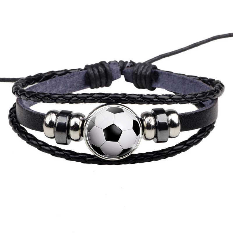 Piłka nożna skórzana bransoletka piłka szklana kopuła metalowa klamra moda punk przycisk biżuteryjny splot wielowarstwowa bransoletka mężczyzna kobiet sportowy prezent