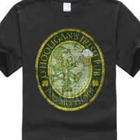 Herren Baumwolle T Shirt Kurzarm O? Hooligans Irish Pub Vintage T Shirt Irland Belfast Dublin Bier Hemd