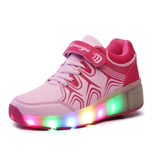 High quality boy girl with automatic children's shoes and lighting LED flash casual sports shoes