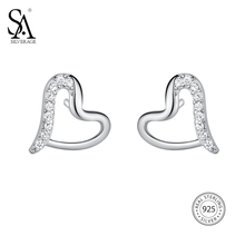 цена SA SILVERAGE Fine Jewelry Heart Trendy Silver 925 Earings Sets Women Brincos 925 Sterling Silver Heart Stud Earrings For Women онлайн в 2017 году