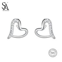 SA SILVERAGE Fine Jewelry Heart Trendy Silver 925 Earings Sets Women Brincos 925 Sterling Silver Heart Stud Earrings For Women