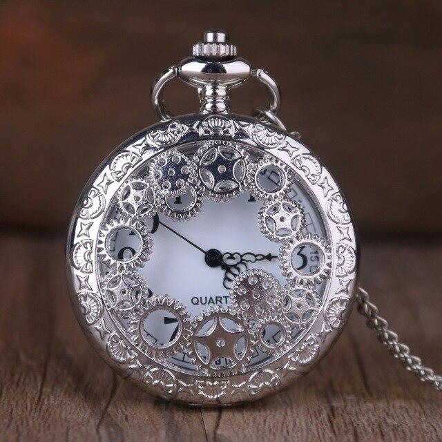 Mens Retro Bronze Quartz Pocket Watches Black Analog Hollow Carving Fashion Vintage Fob Watches Christmas Birthday Gift