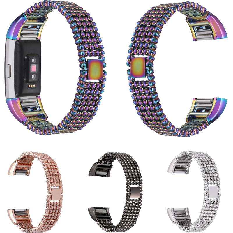 2017 Newest Luxury Steel Bead Style Smart Watch Band Fashion Replacement Women Female Wrist Strap Bracelet For Fitbit Charge 2 replacement luxury silicone watch band wrist strap for fitbit charge 2 bracelet 580287
