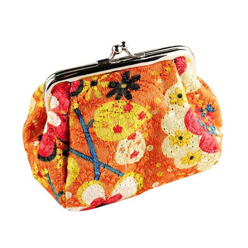 Aelicy Mulheres lady retro vintage flor pequena carteira ferrolho bolsa da moeda da embreagem curto dinheiro quadrado saco chave titular do cartão
