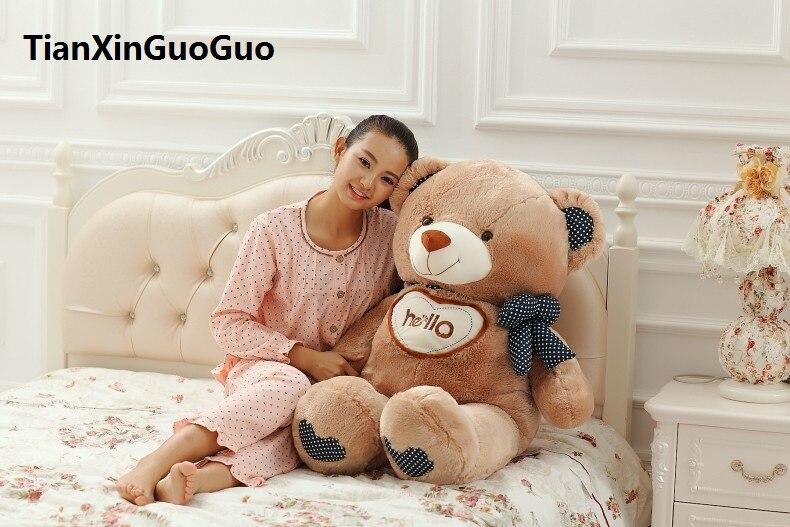 large 85cmhello teddy bear plush toy soft doll throw pillow Christmas gift w2996 lovely bear plush toy large 130cm bear soft throw pillow christmas birthday gift f012