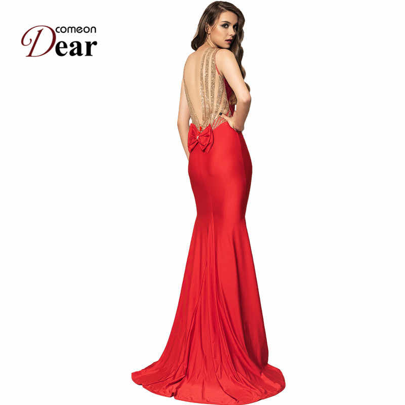 80c7de8a1f63e Comeondear Wedding Evening Party Occasion Floor Length Mermaid Long Maxi  Dress Back Deep V Golden Strap Backless Dress VJ1017
