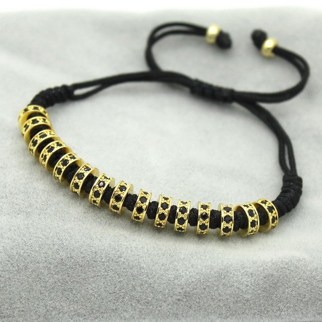New Fashion Brand Macrame Bracelets, Rose Gold Micro Pave Black CZ Stoppers Beads Strand Macrame Bracelet For Men Jewelry 3