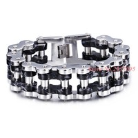 Punk Bicycle Chain Bracelet Men Motorcycle Link Chain Bracelets Bangles Trendy Silver Black Stainless Steel Men's Jewelry Gift