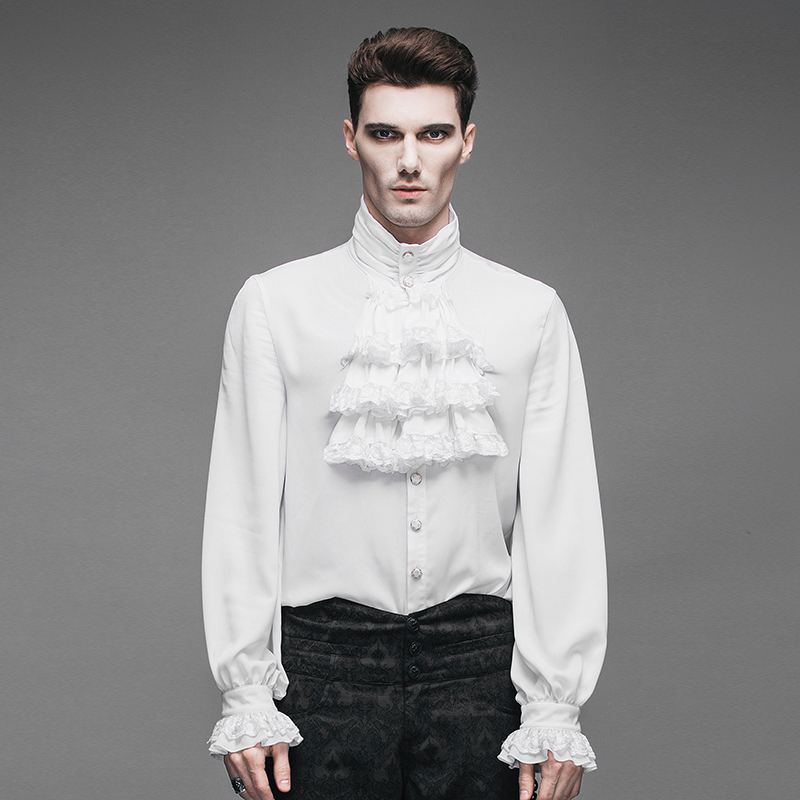 Gothic Vintage Men Shirt Historical Victorian Noble s Shirt with Jabot WHITE SJM127