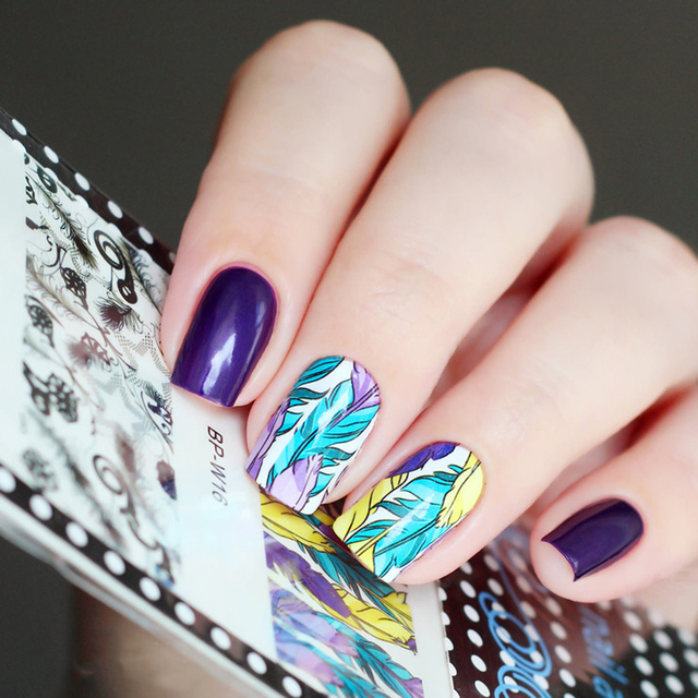 BORN PRETTY Feather Star Nail Art Water Decals Transfer Sticker BP ...