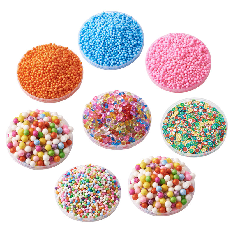 Clever Pandahall Mixd Color Diy Slime Mud Making Tools Kit Foam Beads Balls And Polymer Clay Decoration Accessories For Jewelry Making 100% Guarantee Beads