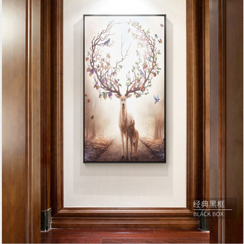 HD Nordic Poster Deer Canvas Painting Flying Birds Tree Autumn Leaf Wall Art Picture For Living Room Life is Strange Home Decor