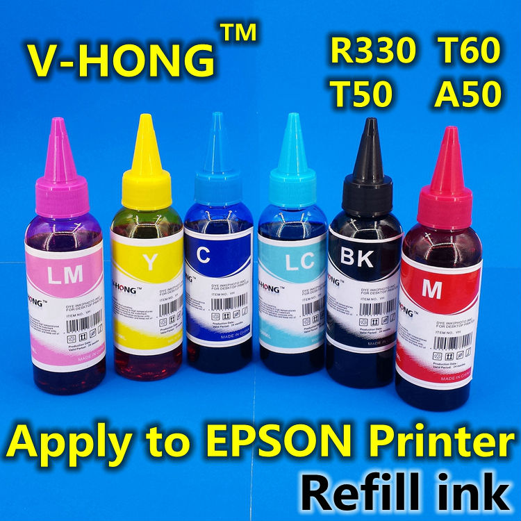 ФОТО Refill Ink R330 T50 T60 A50 P50 R1400 universal ink printer R1500 R1510 TX615 TX700 TX800 TX710W TX650 T59 Dye V-HONG bulk ink